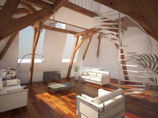 Penthouse TEMW Utrecht :  Woonkamer door 2architecten, Modern