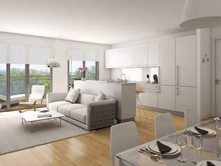 VIviendas Lamiategi SouthVisions SL Salones de estilo moderno Blanco