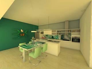 ER Design. @eugeriveraERdesign 現代廚房設計點子、靈感&圖片 玻璃 Green