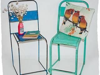 Industriële Vintage Stoel Blauw/ Turquoise:   door I am Recycled