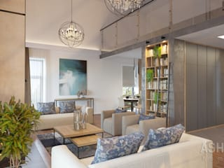 Salas de estilo industrial de Студия авторского дизайна ASHE Home Industrial