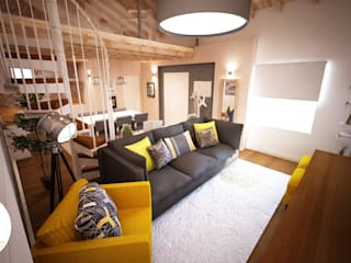 Andreia Louraço - Designer de Interiores (Email: andreialouraco@gmail.com) Salas de estilo moderno Madera Amarillo