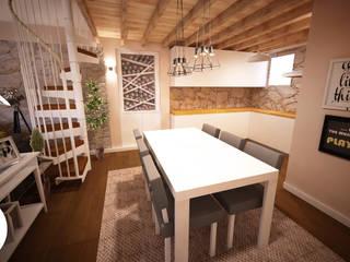 Projecto de Decoração Mezanino.: Salas de jantar  por Andreia Louraço - Designer de Interiores (Contacto: atelier.andreialouraco@gmail.com)