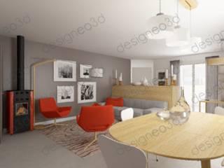 vue depuis la salle à manger vers le séjour et l'entrée: Salon de style  par RAAB Architecture