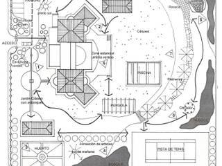 Finca Privada Sevilla. Zonificación:  de estilo  de GreenerLand. Arquitectura Paisajista y Tematización
