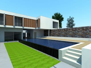Pormenor da Piscina transbordante: Piscinas modernas por Miguel Ferreira Arquitectos