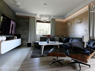 STYLOWY ANTRACYT Nowoczesny salon od TOKA + HOME Nowoczesny
