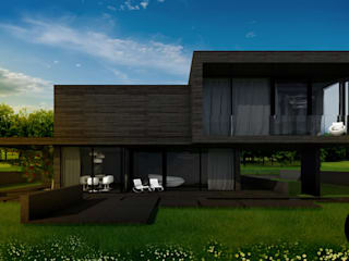 Dom z płaskim dachem w krajobrazie polskiej wsi Nowoczesne domy od DISM Architekci Nowoczesny
