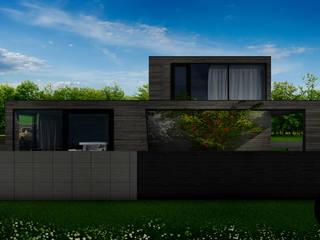 Dom z płaskim dachem w krajobrazie polskiej wsi: styl , w kategorii Domy zaprojektowany przez DISM Architekci