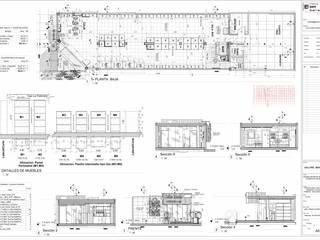 Plano A01 Distribución y Clasificacion del Mobiliario Bodegas de estilo minimalista de Eisen Arquitecto Minimalista