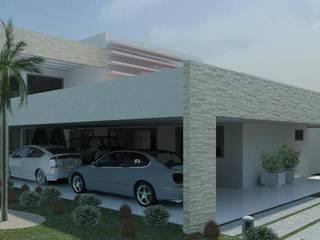 Risque Projetos: Fachada Estilo Moderno Casas modernas por RISQUE PROJETOS E ARQUITETURA Moderno