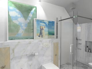 łazienka metafizyczna: styl , w kategorii  zaprojektowany przez GocaDesign,