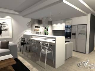 Kuchnia połączona z salonem w nowoczesnym wydaniu od Anastha DESIGN