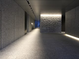 Modern Corridor, Hallway and Staircase by 株式会社ライティングM Modern