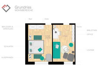 Grundriss Schlaf- und Arbeitszimmer: moderne Arbeitszimmer von furnitects GmbH