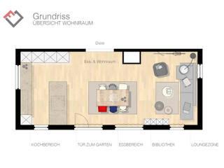 Grundrissplanung offener Ess- und Wohnbereich: moderne Wohnzimmer von furnitects GmbH