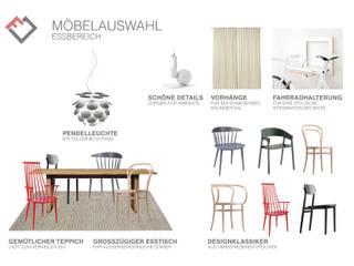Möbelplanung: Essbereich mit Stuhl-Mix: skandinavische Esszimmer von furnitects GmbH