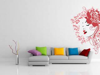 Silhueta artística da face de uma mulher com rosa no cabelo - 4 cores BrutalVisual Sala de estarAcessórios e Decoração Vermelho