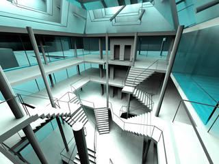 Proyecto Biblioteca Pasillos, vestíbulos y escaleras de estilo moderno de ABestudio de Arquitectura Moderno