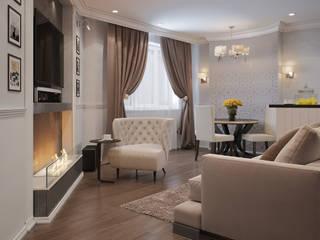 Визуализации проекта квартиры г.Сургут, ул.Киртбая 37 Гостиная в стиле модерн от Alyona Musina Модерн