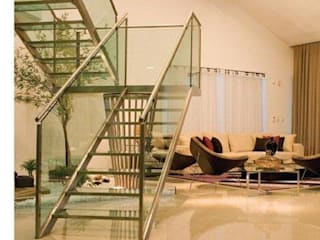 Casa de aldeia Deise leal interiores Corredores, halls e escadas modernos Vidro