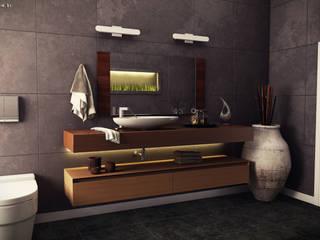 Projeto 3D - banheiro moderno: Banheiros  por Renan Slosaski,