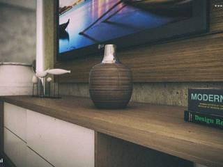 Composição da sala 3D: Salas de estar  por Renan Slosaski,