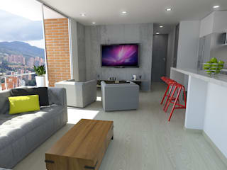 Imagen en 3d entrada principal: Salas de estilo  por TRESD ARQUITECTURA Y CONSTRUCCIÓN DE ESPACIOS