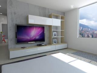Imagen 3d alcoba principal: Habitaciones de estilo  por TRESD ARQUITECTURA Y CONSTRUCCIÓN DE ESPACIOS
