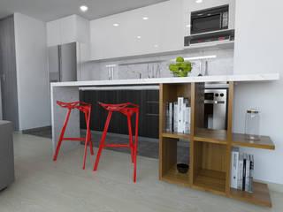 imagen 3d barra cocina: Cocinas de estilo  por TRESD ARQUITECTURA Y CONSTRUCCIÓN DE ESPACIOS