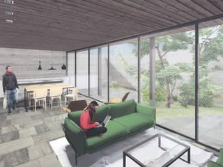 Residência 456: Salas de estar  por Commune Arquitetura