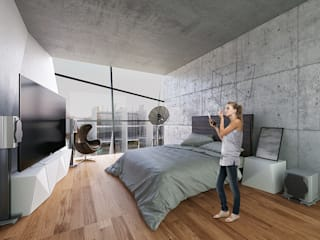 Proyecto Cafeina Modern style bedroom Glass Transparent