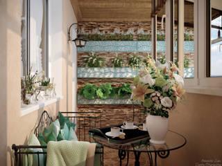 Varandas, marquises e terraços mediterrânicos por Студия интерьерного дизайна happy.design Mediterrânico