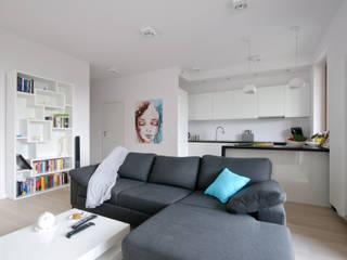 Apartament na Mokotowie Nowoczesny salon od ZAWICKA-ID Projektowanie wnętrz Nowoczesny