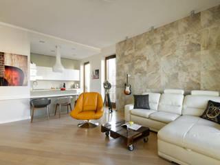Apartament na Powiślu Nowoczesny salon od ZAWICKA-ID Projektowanie wnętrz Nowoczesny