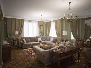 Projekty,  Salon zaprojektowane przez Designer Olga Aysina, Eklektyczny