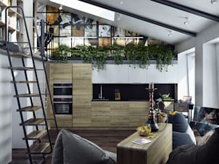 Хороший план Industrial style living room