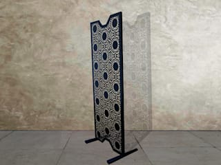 Black Nottingham Lace room divider and room partition:   by Lace Furniture