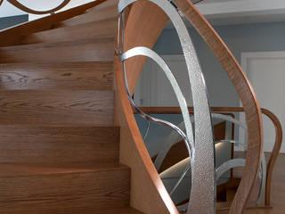 ST797 Nowoczesne schody dębowe / ST797 Modern Oak Stairs Nowoczesny korytarz, przedpokój i schody od Trąbczyński Nowoczesny