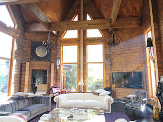Log House Orkun İndere Interiors Living room Solid Wood White
