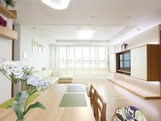 하얀 수국을 닮은 화이트톤 인테리어: 퍼스트애비뉴의  거실,모던