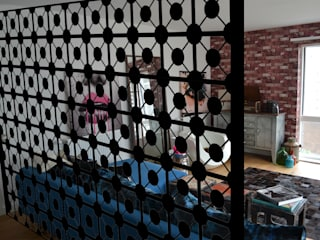 Decorative laser cut metal room divider in Black Geodots design :  Household by Lace Furniture