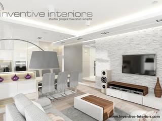 INVENTIVE INTERIORS – Jasne subtelne mieszkanie 95m2: styl , w kategorii Salon zaprojektowany przez Inventive Interiors