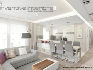 Inventive Interiors jasna jadalnia w przestronnym salonie: styl , w kategorii Jadalnia zaprojektowany przez Inventive Interiors