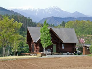 Log Cabin beside Japan Alps Cottage Style / コテージスタイル Maisons rurales Bois Effet bois