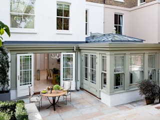 Basement Orangery on London townhouse Westbury Garden Rooms Modern conservatory Wood Grey