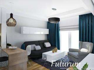 Projekt wnętrza mieszkania 39 m2 , Warszawa Nowoczesny salon od Futurum Architecture Nowoczesny