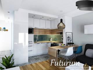 Projekt wnętrza mieszkania 39 m2 , Warszawa Nowoczesna kuchnia od Futurum Architecture Nowoczesny