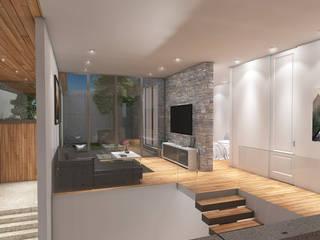 Lozano Arquitectos Couloir, entrée, escaliers modernes Pierre Effet bois
