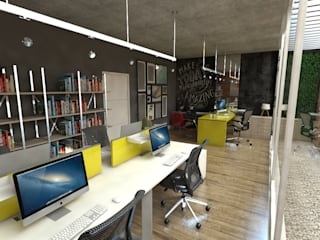 Industrial style commercial spaces by Studio M Arquitetura Industrial